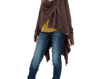NO.61 Brown Cotton-Blend Jersey Versatility Cardigan, Wrap Sweater, Wrap Top, Women's Cardigan
