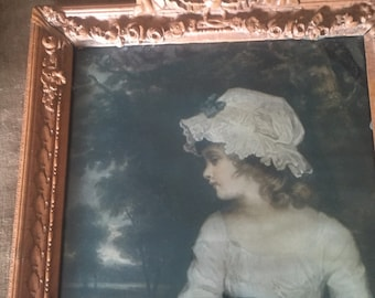 Antique barbola frame with print/Swags Ribbons and Bows