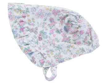 Vintage style floral fabric heirloom bonnet