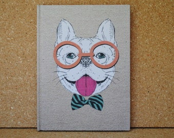 Hipster Frenchie, Dog Print Notebook, Fabric Notebook, Lined Journal Bound Notebook