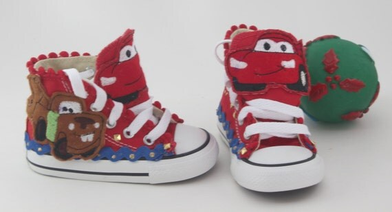 "Customized ""Cars"" Converse Shoes/ Customized Chuck Taylors"