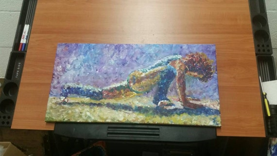 "Flashdance Sketch, 12 x 24"" acrylic on canvas"