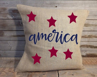 America Pillow Cover ...Freedom Pillow Cover..Patriotic decor