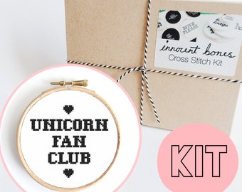 Unicorn Fan Club Modern Cross Stitch Kit - easy chart design guide & supplies- unicorn magical design - embroidery kit bad taste popculture