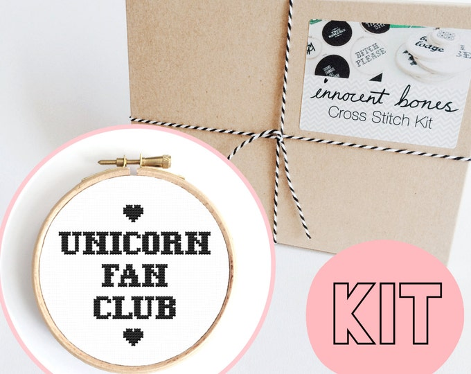 Featured listing image: Unicorn Fan Club Modern Cross Stitch Kit - easy chart design guide & supplies- unicorn magical design - embroidery kit bad taste popculture