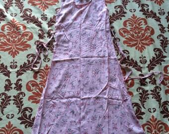 Vintage Pink Floral Print Summer Dress