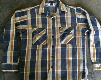 Vintage Blue and Rust Colored Flannel Shirt