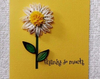 Paper quilling handmade Daisy flower Thank you ,Wedding,Wedding card,Mothers day, Birthday,Congratulations , Happy Anniversary Card