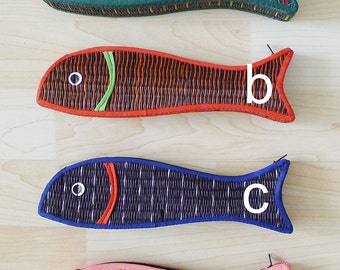 vintage dead stock,new old stock,hand woven reed zipper pencil case,straw pencil box,fish shaped bag,lovely colorful and unique,eco friendly