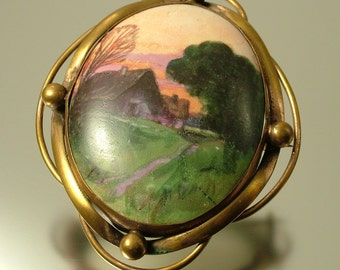 Antique/ estate Victorian 1800s, large, gilt metal and hand painted porcelain, house at sunset, costume brooch pin - jewellery jewelry