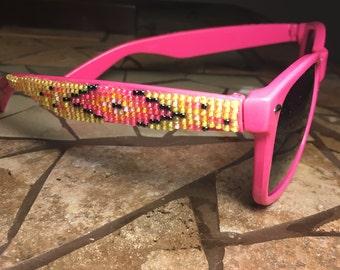 Pink Frame Native American Beaded Sunglasses