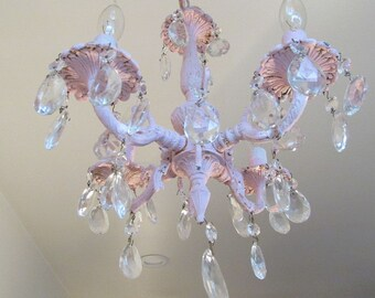 Pink vintage chandelier lighting hand painted distressed shabby chic ceiling fixture with crystals home decor or nursery anita spero design
