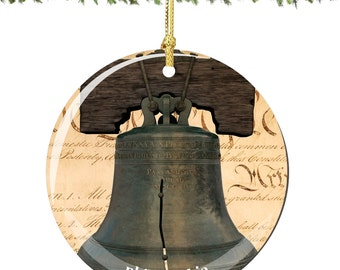 Liberty Bell Porcelain Christmas Ornament Decoration