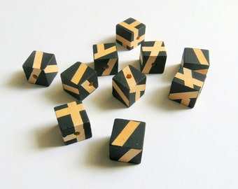 Black Geometric Mix Wood Beads, Hand Painted Cube wood Beads, Summer Geometric Jewelry, Do it Yourself Geometric necklace