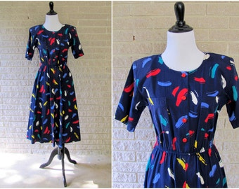 Vintage Day  Dress | 1980s | John Richard of California Navy Blue Paint Stroke Cotton Dress | Small