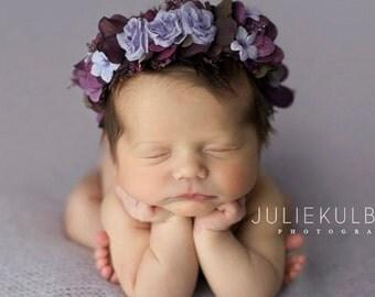 Newborn Floral Crown, crown, floral crown, Photo Prop, newborn photo prop - Plum - adjustable fits newborn to toddler