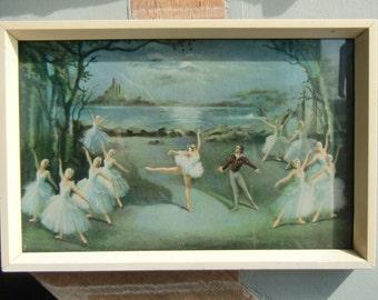 Vintage 1950's Framed Ballerina Print  by Carlotta Edwards   -  Ballet