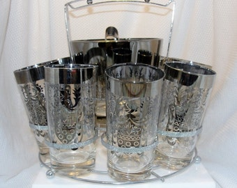 Kimiko High Ball Complete Glass Set with Rack for Eight Ice Bucket and Tongs