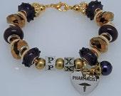 RHO CHI PHARMACY Academic Honor Society European Style Bracelet Purple Gold