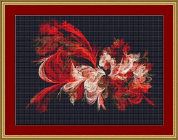 Red And White Cross Stitch Pattern /Digital PDF Files /Instant downloadable