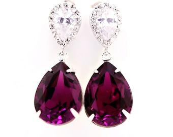 Amethyst Earrings Swarovski Earrings Amethyst Crystal Bridal Earrings Bridesmaids Earrings Eggplant Plum Purple Wedding Jewelry AM31P