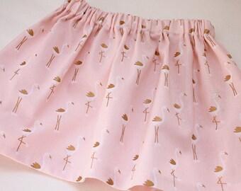 Market Circle Skirt ~Pink & Gold Flamingo Custom Boutique Girls Twirl Skirt/Infant/Toddler Girls-Made to order:  Newborn to 5/6 Girls