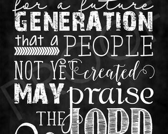 Scripture Art - Psalm 102:18 ~ Chalkboard Style