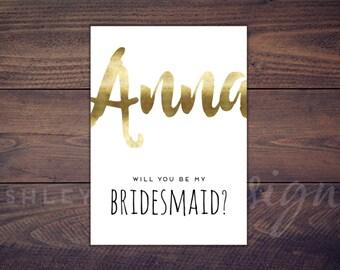 Bridesmaid Card Gold, Will You Be My Bridesmaid, Bridesmaid Proposal Invitation, Bridesmaid Gift,  Maid of Honor, Matron of Honor,