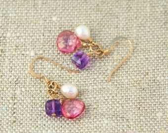 Fifi Earrings: Pink quartz, amethyst and freshwater pearl dangle earrings on 14k gold filled wire, ring and ear wire