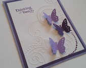 Thinking of You Purple & Lavender Butterfly Greeting Card, Embossed, Punched, Raised wings, Just Because, Friendship, Miss You card