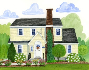 SAMPLE Custom Whimsical Watercolor House Portrait Painting. Great for Christmas, Weddings, Moving, Anniversary, Birthdays