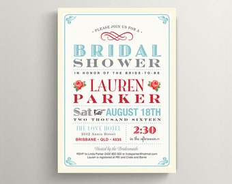 Printable Bridal Shower Invitation \ Vintage Poster Invite \ Blue and Red Roses (BR46)