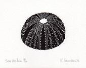 Black Sea Urchin: lino print FREE UK SHIPPING