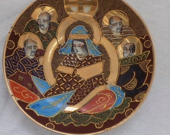 Marked Signed Antique Japanese Satsuma Plate Immortals Gilt Moriage Porcelain Small Dish - Chinoiserie Asian Home Decor Collectible Pottery