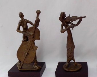 Vintage Mid Century Bronze Brass Hand Sculpted Statues Sculptures - Violin Cello  Art Deco Style - Musical Musician Library Office Bookshelf