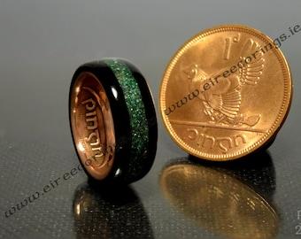 Connemara marble Irish wedding ring Celtic design.
