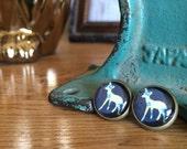 post earrings /// floral deer