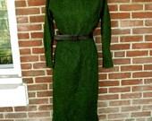 early 1960s nubby green wool secretary dress