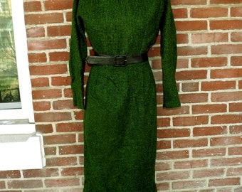early 1960s nubby green wool secretary dress
