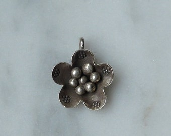 HT-174 Thai Hill Tribe Fine Silver Flower Charm