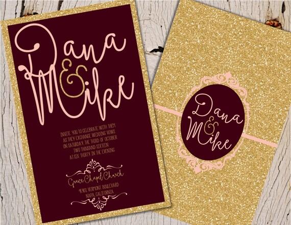 Burgundy And Gold Wedding Invitations: Burgundy And Gold Wedding Invitation Blush Burgundy And Gold