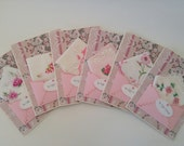 RESERVED FOR DAWN - Bridesmaid Gift Thank You Vintage Wedding Handkerchief Lot Pink Keepsake Gift Hanky Accessory Cards