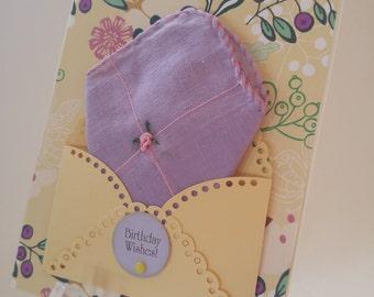 Dainty Lavender Vintage Embroidered Handkerchief Yellow Green Friend Birthday Keepsake Gift Hanky Card