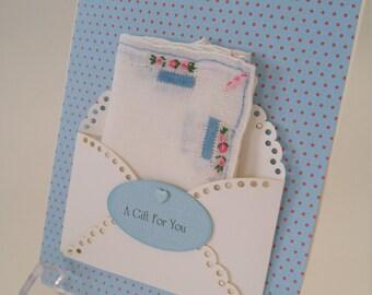 Vintage Embroidered Handkerchief Serenity Blue Polka Dot Friend Birthday Wedding Graduation Thinking Of You Hanky Keepsake Card
