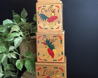 Vintage Farmhouse Rooster Canister Set Wooden Nesting Canister Set with Salt and Pepper Fredroberts Company