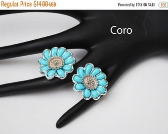 Coro clip on Earrings Blue Thermoset silver Flower  Mid Century