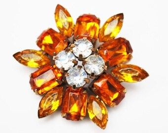Rhinestone Flower  Brooch - orange and yellow Lucite - Floral pin