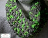 Gray and Neon Green Chunky Cowl, Gray and Green Chunky Scarf, Unisex, Cool Weather, Chunky Scarf, Chunky Cowl, Chunky Crochet, Male, Female