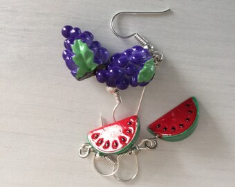 Grapes and Melon Earrings