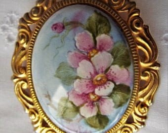 Vintage Hand Painted Porcelain Brooch by Sida